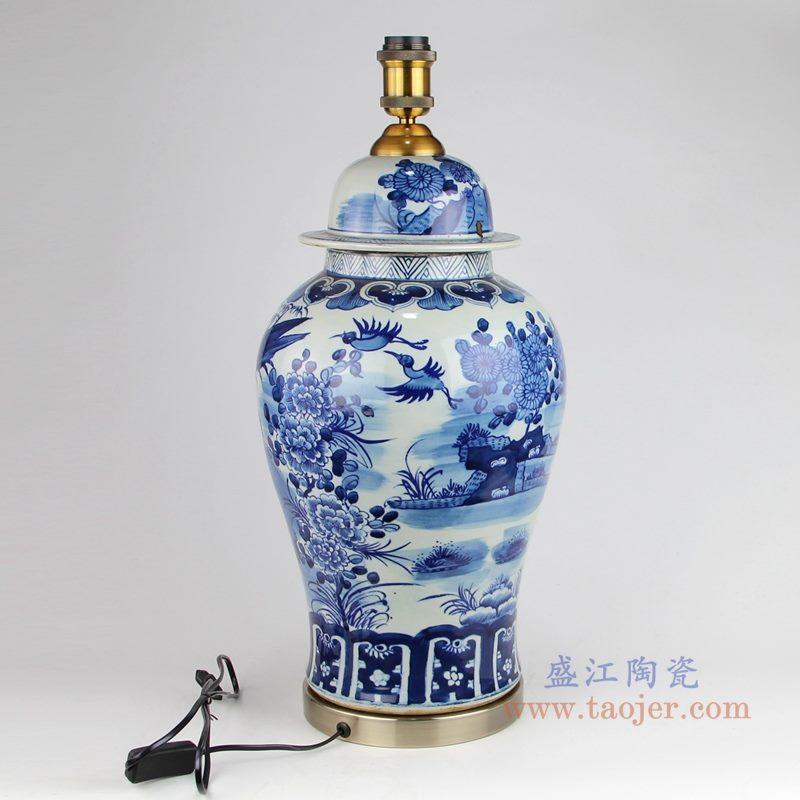 上图 手绘青花花鸟陶瓷将军罐灯具侧面图片 购买请点击图