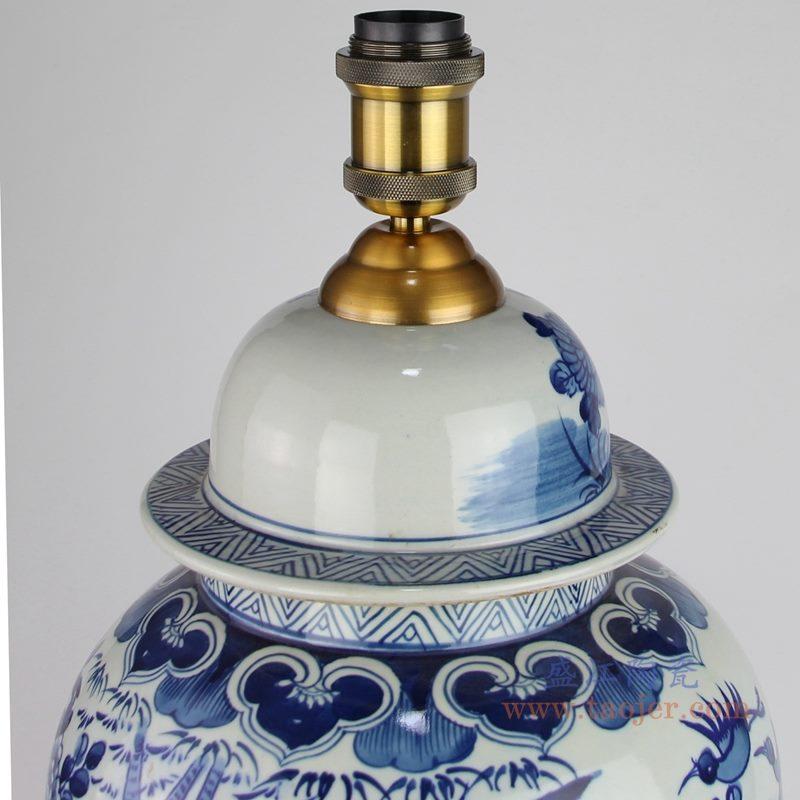 上图 手绘青花花鸟陶瓷将军罐灯具灯头金属接头 购买请点击图片