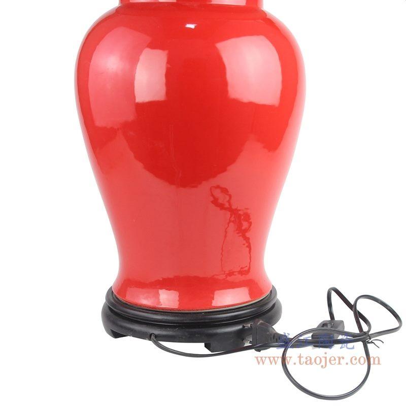 上图:颜色釉酒红色陶瓷将军罐灯具细节局部图 购买请点击图片