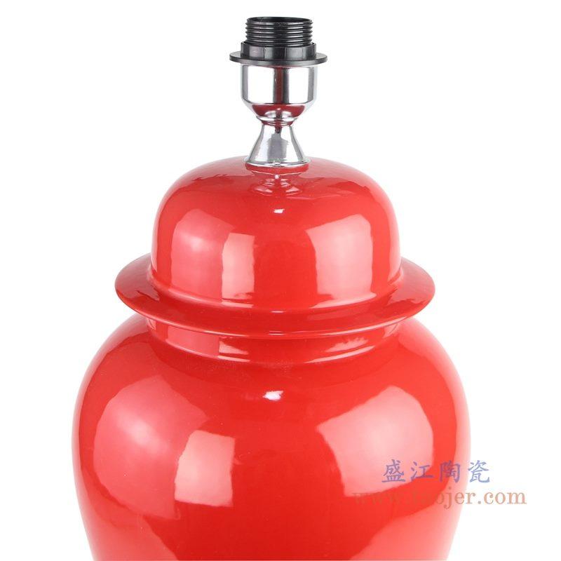上图:颜色釉酒红色陶瓷将军罐灯具顶部图 购买请点击图片