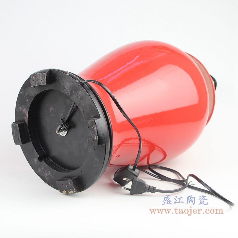 上图:颜色釉酒红色陶瓷将军罐灯具底部图 购买请点击图片