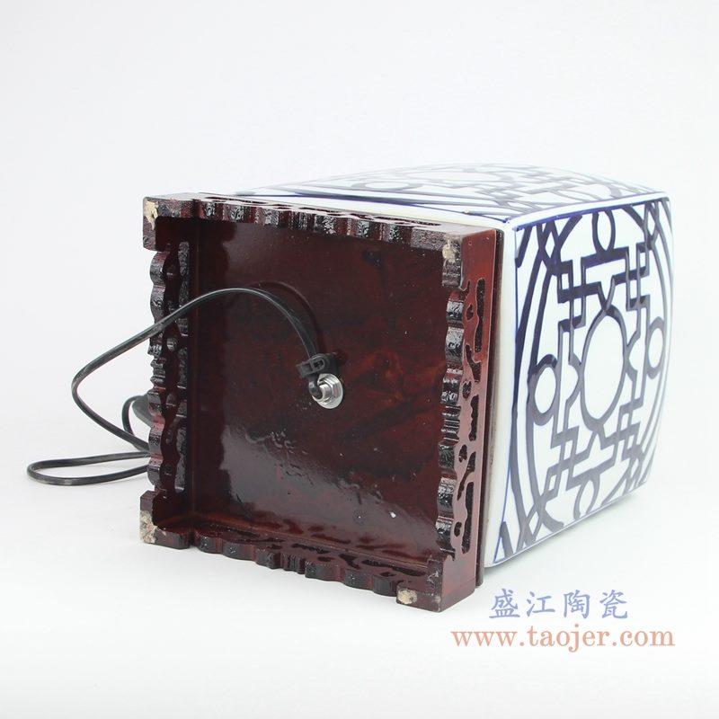 上图:青花四方铜钱纹回子纹茶叶罐陶瓷灯具底部图片  购买请点击图片
