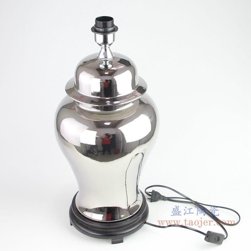 上图:银色镀银陶瓷将军罐灯具俯视图  购买请点击图片