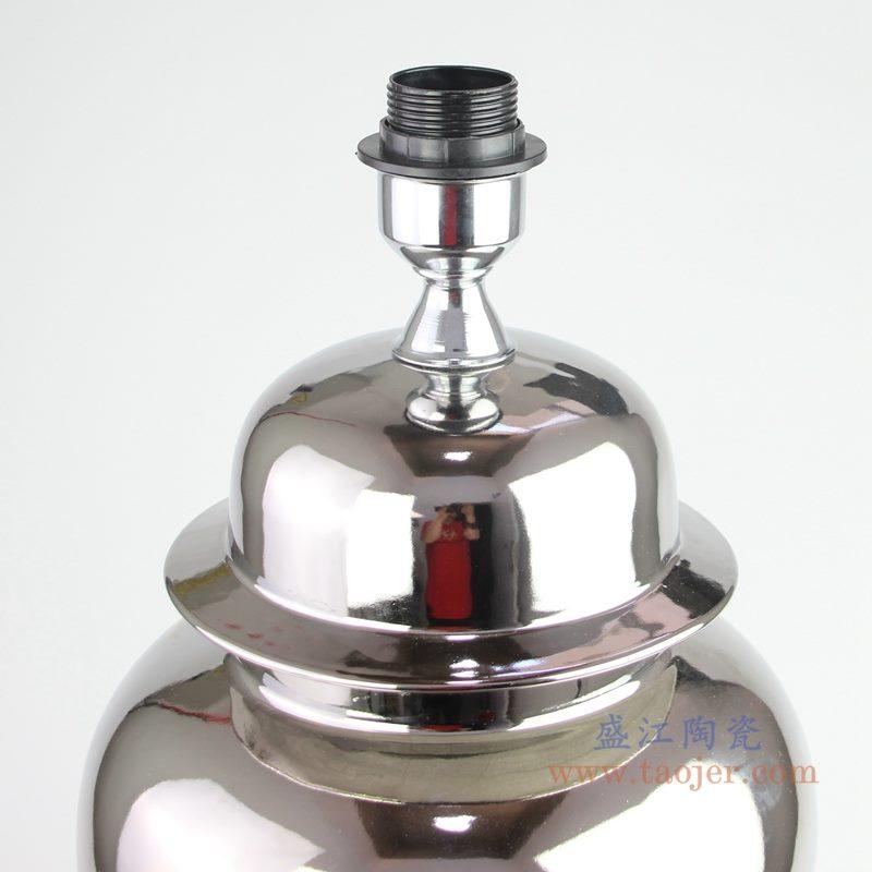 上图:银色镀银陶瓷将军罐灯具灯头细节图  购买请点击图片
