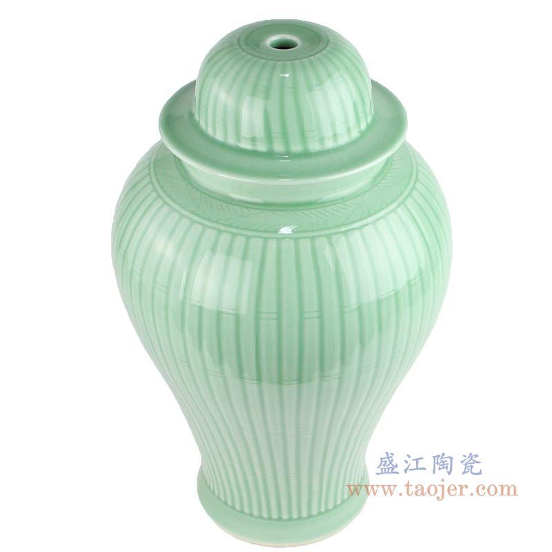 上图:影青雕刻条纹陶瓷将军罐灯具俯视图 购买请点击图片