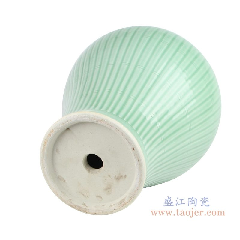 上图:影青雕刻条纹陶瓷将军罐灯具底部图 购买请点击图片