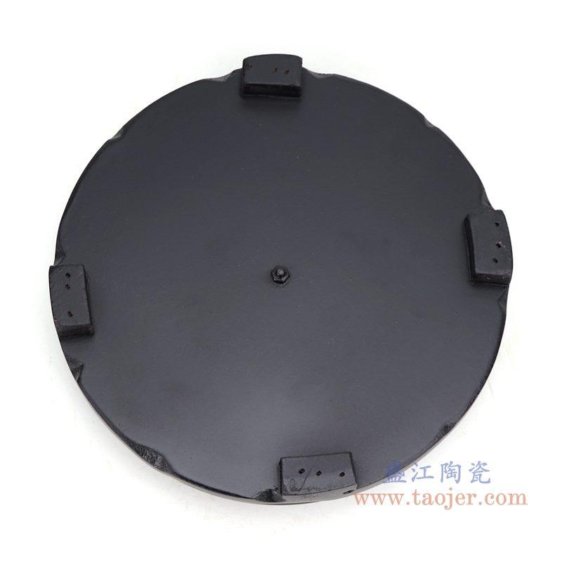 上图:哑光黑色7寸圆形灯具底座底部图 购买请点击图片