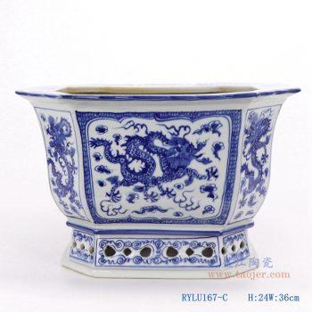 RYLU167-C-仿古手绘青花八角八面八边形龙纹纹花盆
