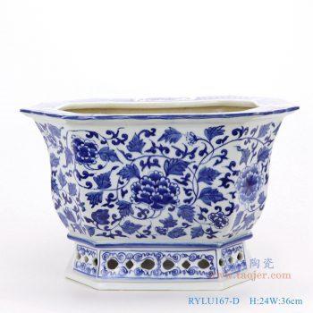 RYLU167-D-仿古手绘青花八角八面八边形缠枝牡丹纹花盆