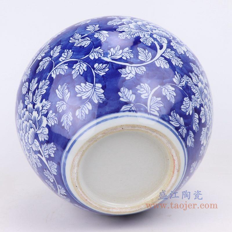 上图:青花冰梅缠枝牡丹花卉天球瓶底部图 购买请点击图片
