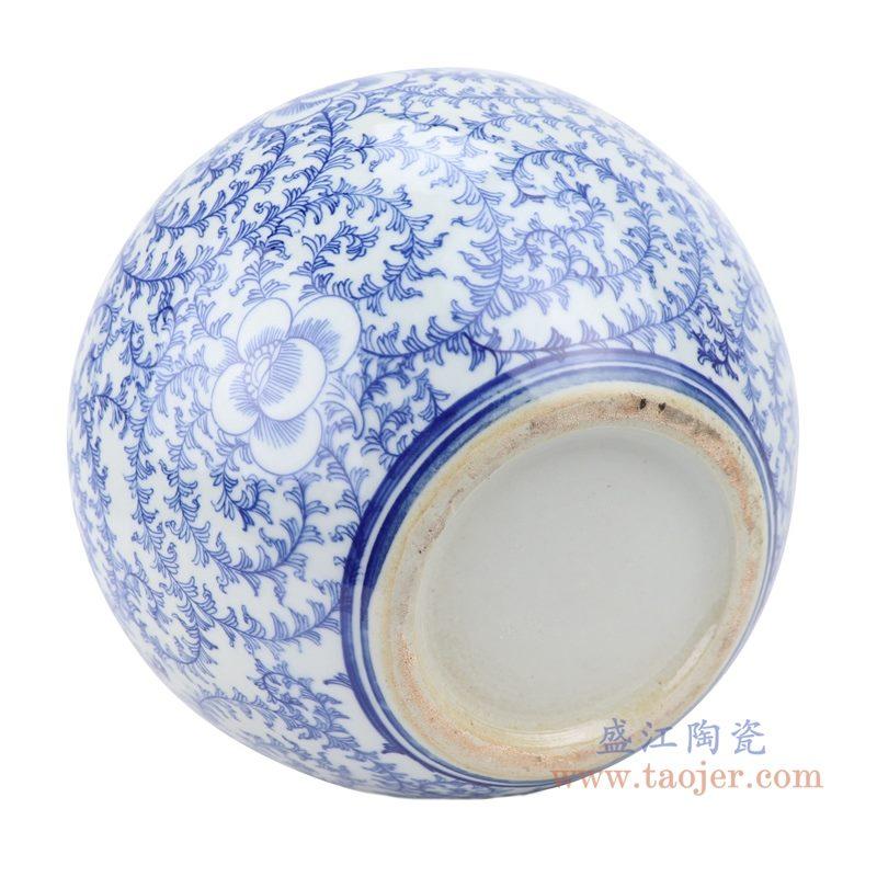 上图:青花缠枝串花藤纹天球瓶底部图 购买请点击图片