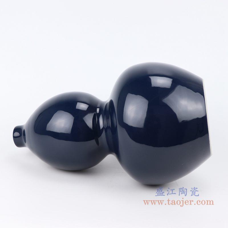 上图:深蓝祭蓝颜色釉陶瓷葫芦瓶花瓶侧面图 购买请点击图片