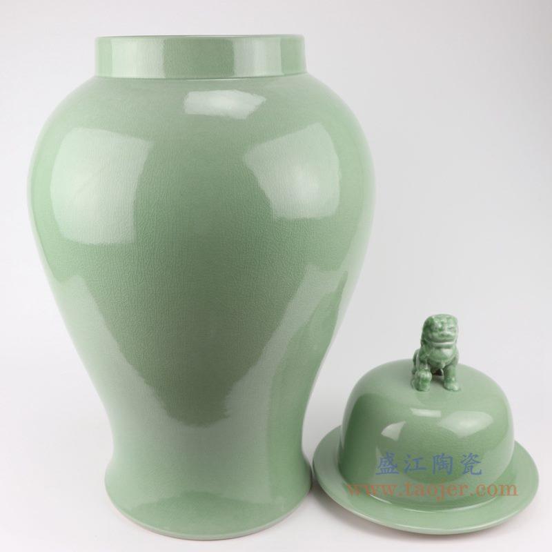 上图:影青豆青颜色釉狮子头盖子将军罐身盖分开图 购买请点击图片