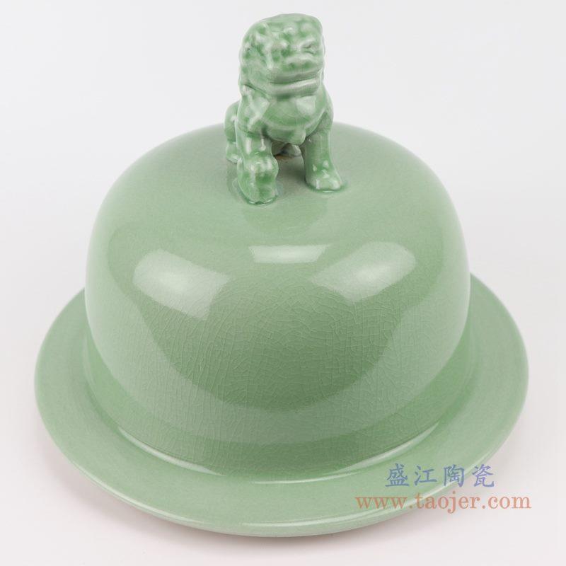 上图:影青豆青颜色釉狮子头盖子将军罐盖子细节图 购买请点击图片