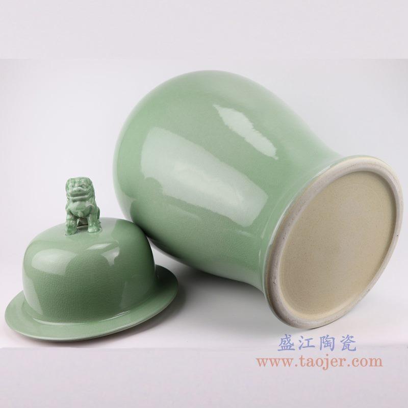 上图:影青豆青颜色釉狮子头盖子将军罐底部图 购买请点击图片