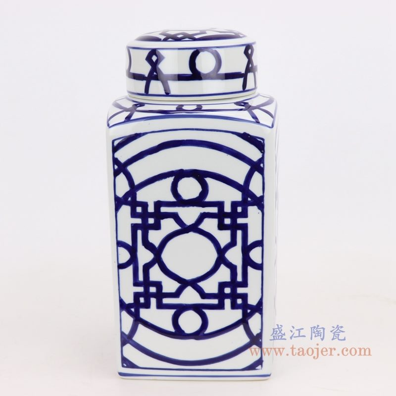上图:青花四方铜钱纹回子纹茶叶罐正面图 购买请点击图片