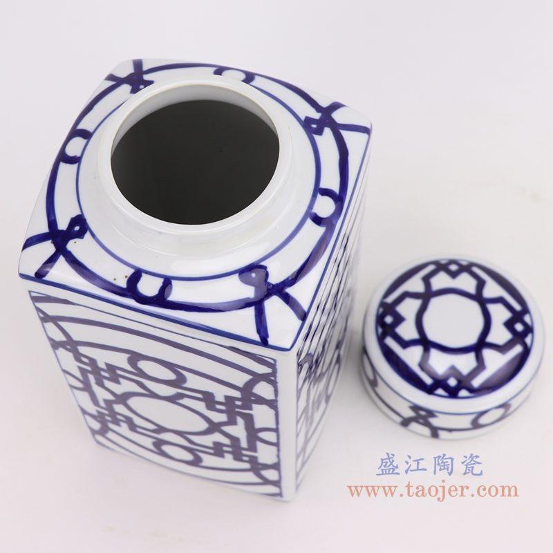 上图:青花四方铜钱纹回子纹茶叶罐口部图 购买请点击图片
