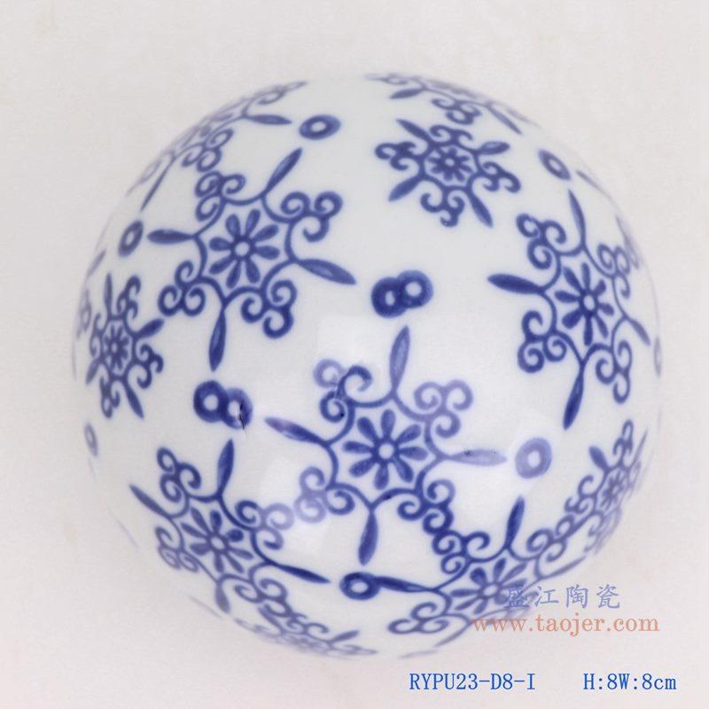 上图:青花中国结纹陶瓷球装饰球圆浮球 购买请点击图片