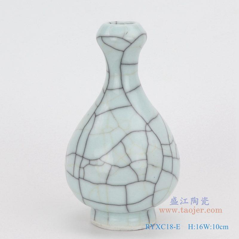 上图:龙泉青瓷哥窑开片裂纹釉铁线纹蒜头瓶小件花瓶  购买请点击图片