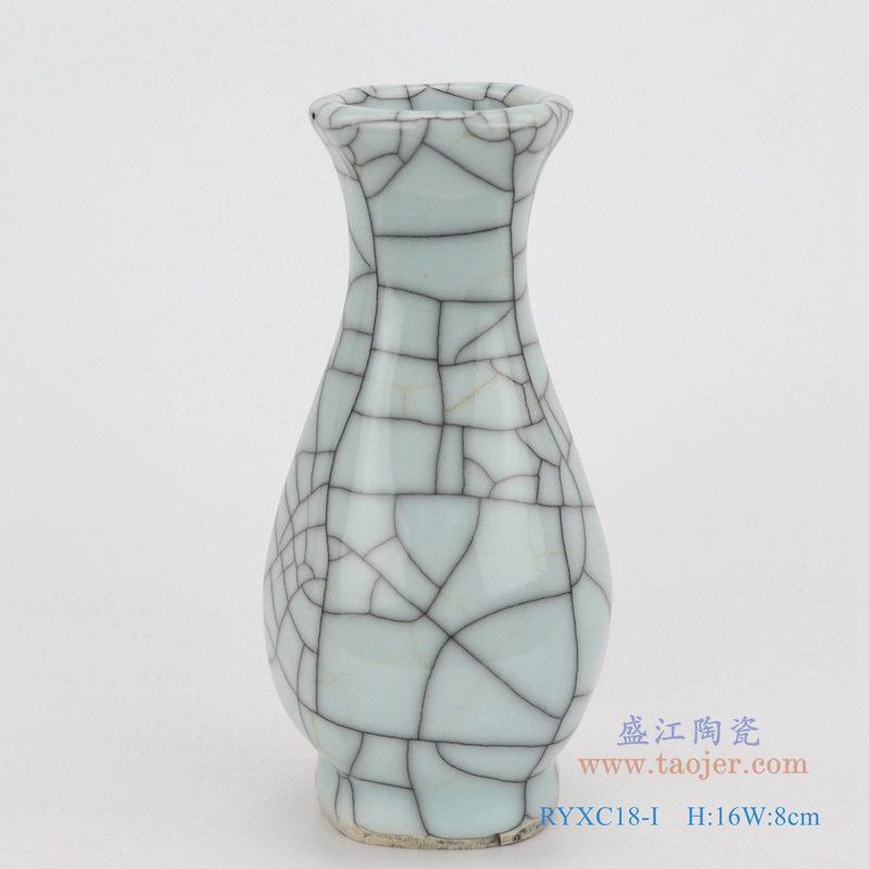 上图:龙泉青瓷哥窑开片裂纹釉铁线纹六面扁肚瓶小件花瓶  购买请点击图片
