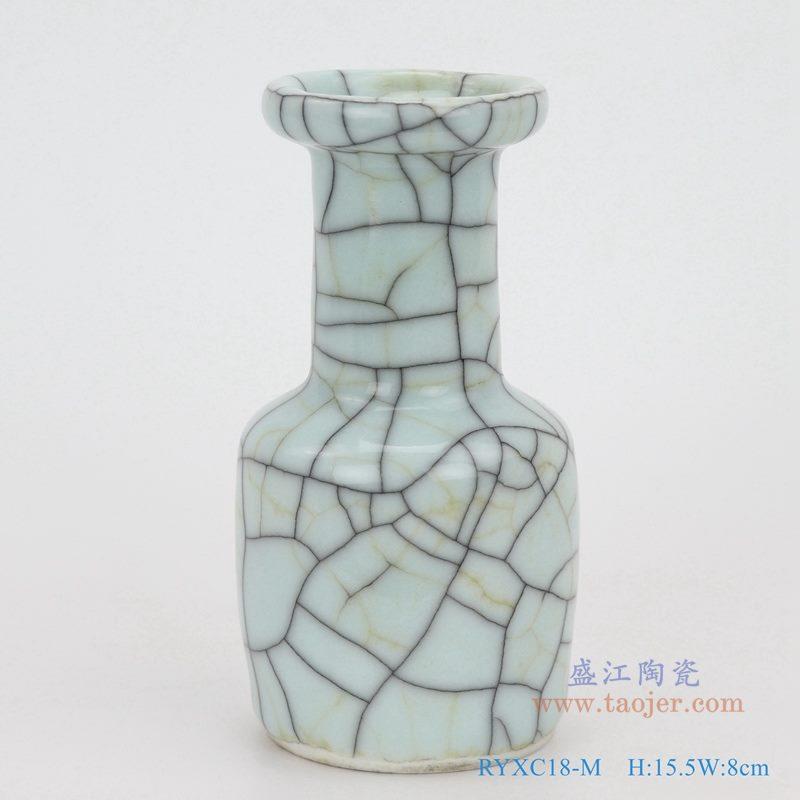 上图:龙泉青瓷哥窑开片裂纹釉铁线纹方肚瓶小件花瓶  购买请点击图片