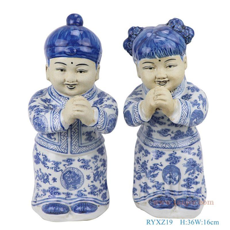 上图:青花陶瓷雕塑金童玉女男孩女孩恭喜发财童子摆件一对正面图 购买请点击图片