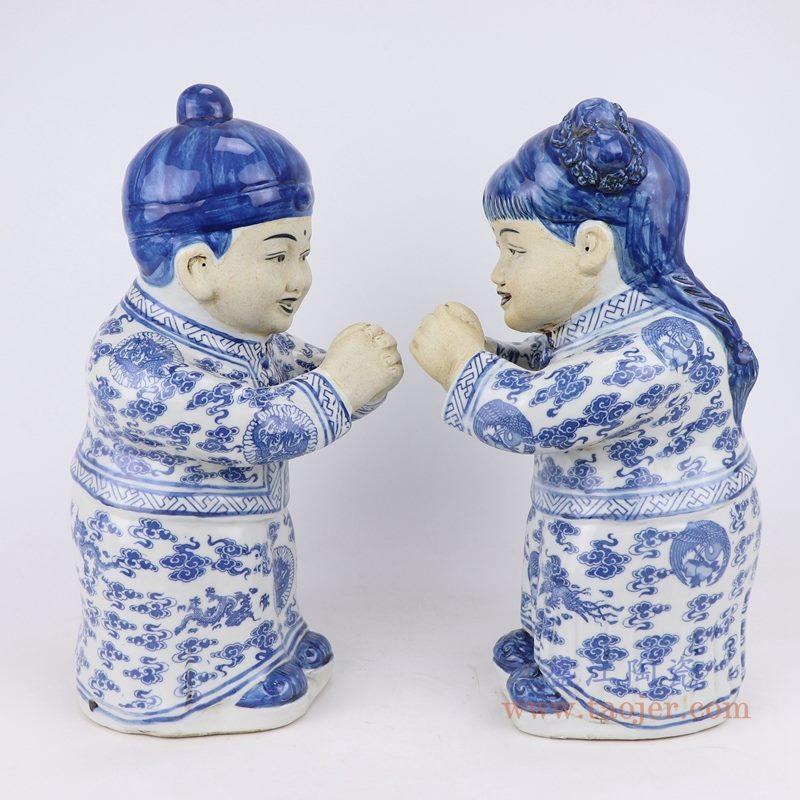 上图:青花陶瓷雕塑金童玉女男孩女孩恭喜发财童子摆件一侧面图  购买请点击图片