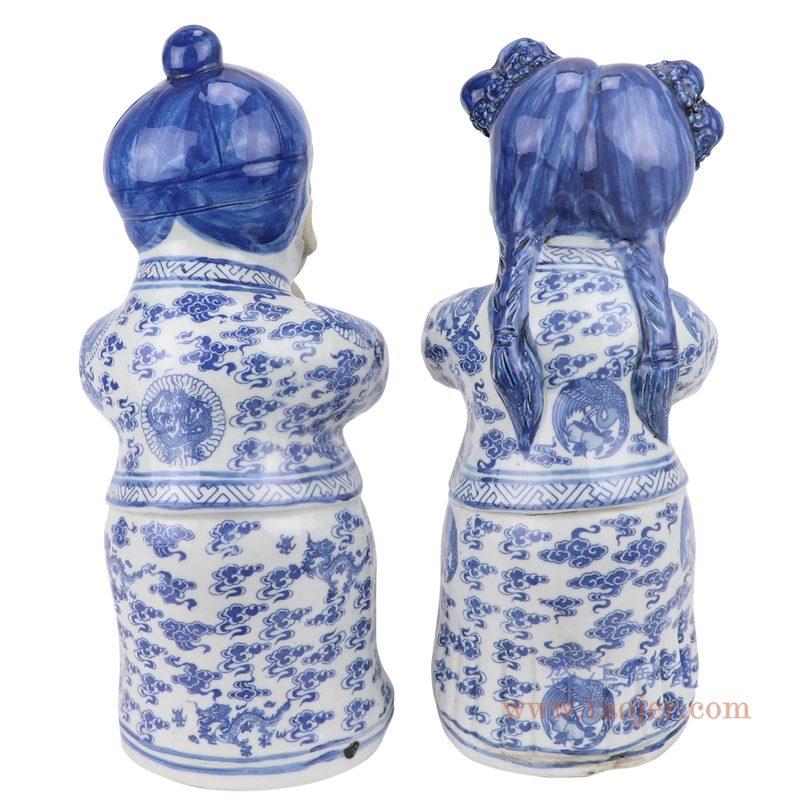 上图:青花陶瓷雕塑金童玉女男孩女孩恭喜发财童子摆件一对背面图 购买请点击图片