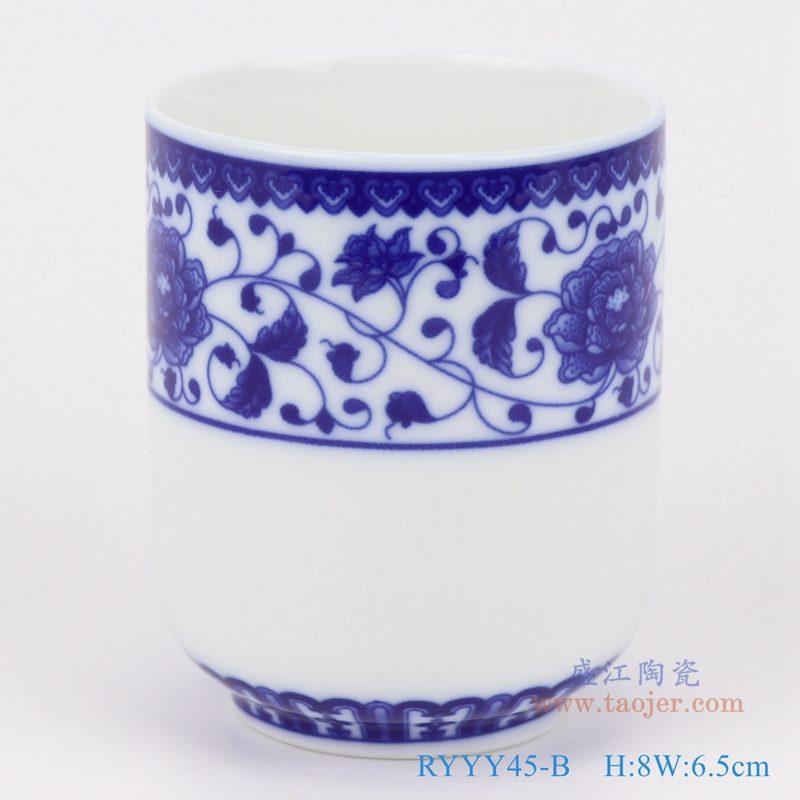 上图:青花缠枝莲图案直口杯子 购买请点击图片