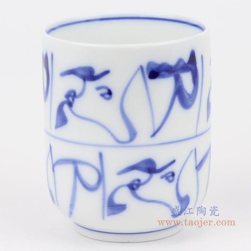 上图:青花手绘刀纹图案直口杯子 侧面图 购买请点击图片