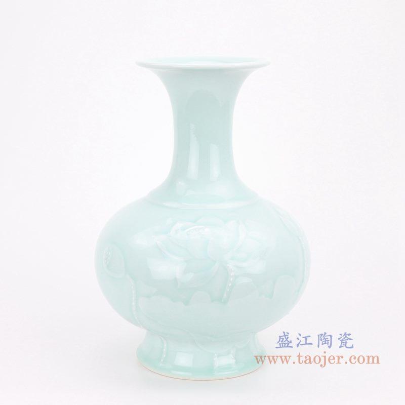 上图:颜色釉豆青影青雕刻荷花赏瓶 正面图 购买请点击图片