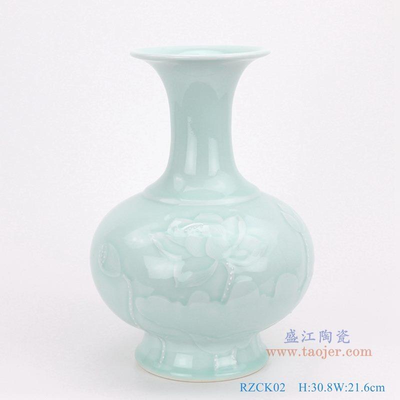 上图:颜色釉豆青影青雕刻荷花赏瓶 背面图 购买请点击图片