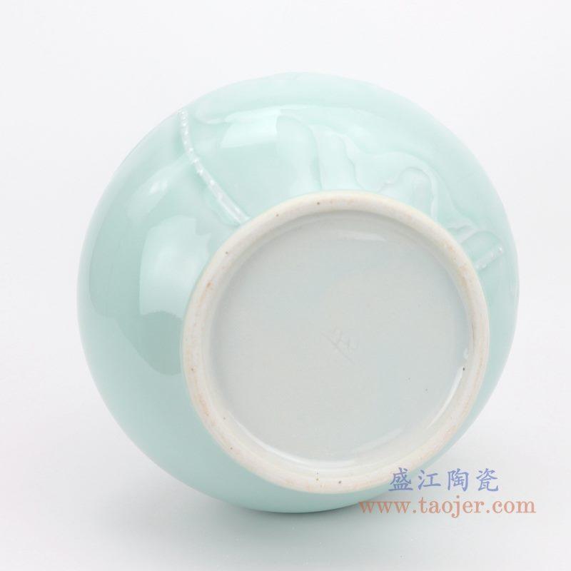 上图:颜色釉豆青影青雕刻荷花赏瓶 底部图 购买请点击图片