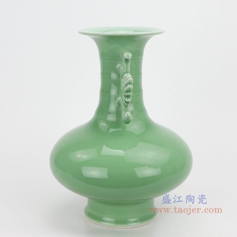 上图:颜色釉绿釉双耳竹节花瓶侧面  购买请点击图片
