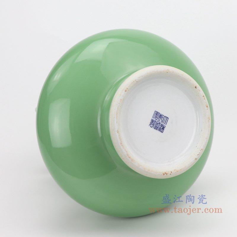 上图:颜色釉绿釉双耳竹节花瓶底部  购买请点击图片