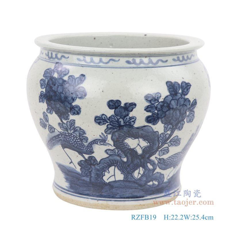 上图:仿古手绘青花花鸟纹小缸正面图片 购买请点击图片