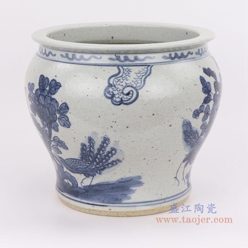 上图:仿古手绘青花花鸟纹小缸侧面图片 购买请点击图片