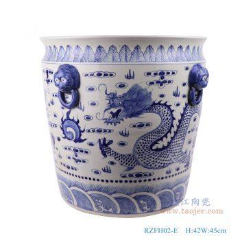 RZFH02-E-仿古手绘青花狮头耳衔环龙纹直口大缸