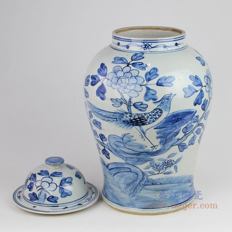 上图:仿古手绘青花花鸟锦鸡牡丹图案将军罐单个图  购买请点击图片