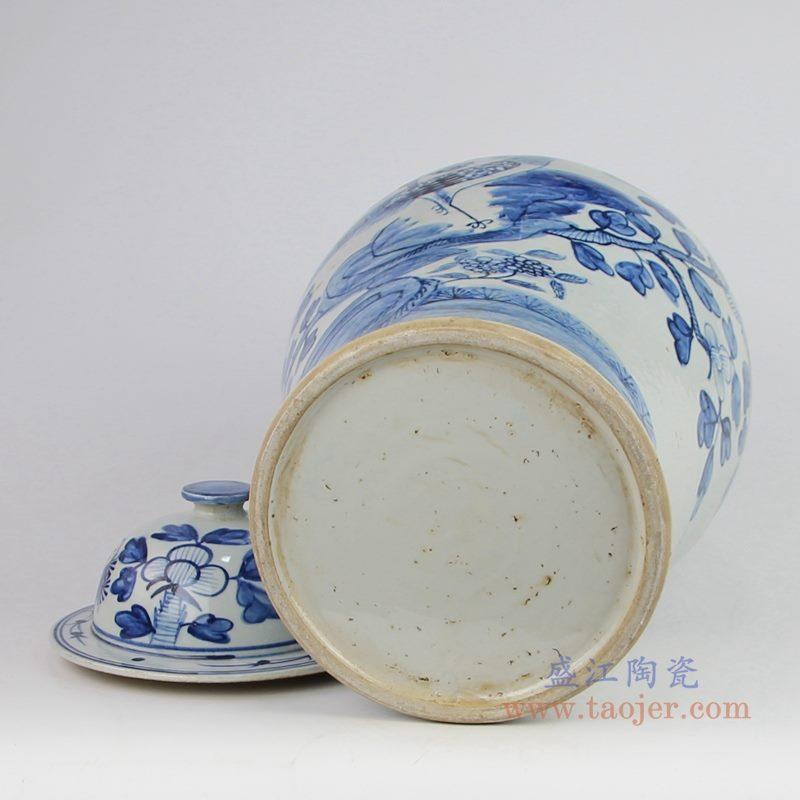 上图:仿古手绘青花花鸟锦鸡牡丹图案将军罐底部图  购买请点击图片