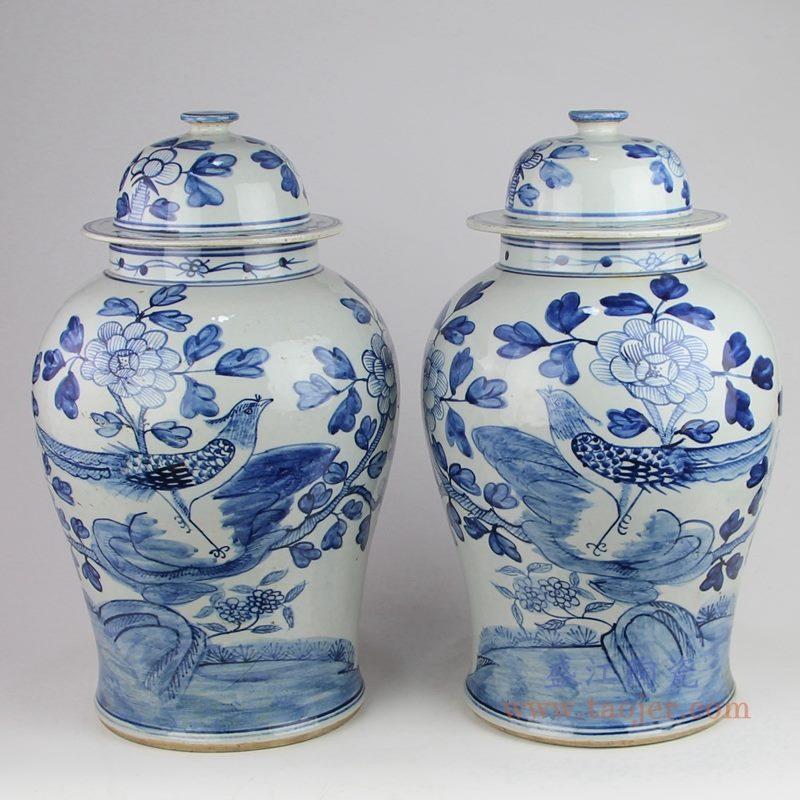 上图:仿古手绘青花花鸟锦鸡牡丹图案将军罐一对  购买请点击图片