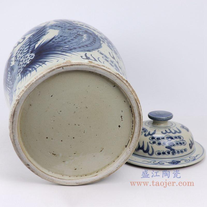 上图:仿古手绘青花凤凰涅槃火焰纹将军罐 底部图 购买请点击图片