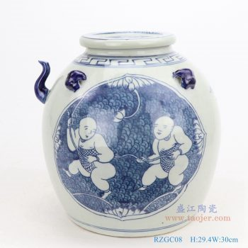 RZGC08-仿古手绘青花开光童子戏莲带壶嘴陶瓷带盖坛罐子
