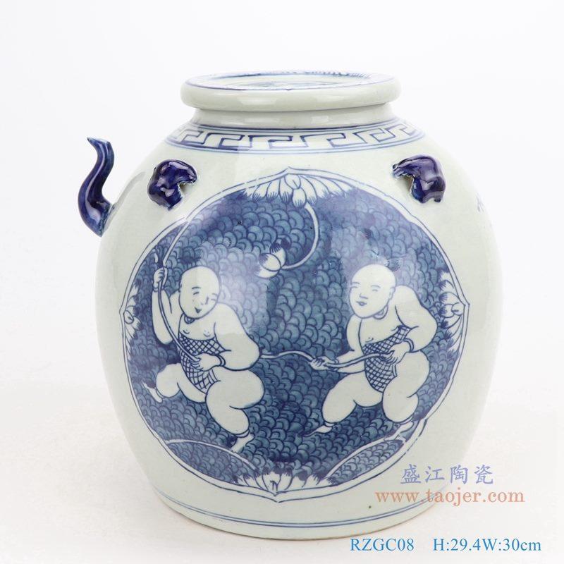 上图:仿古手绘青花开光童子戏莲带壶嘴陶瓷带盖坛罐子正面图  购买请点击图片