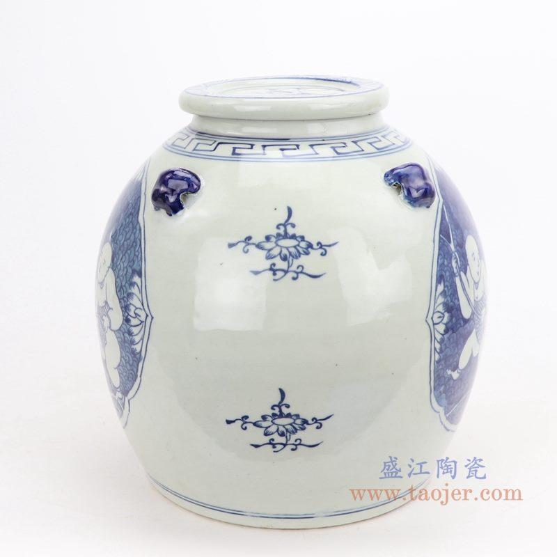 上图:仿古手绘青花开光童子戏莲带壶嘴陶瓷带盖坛罐子背面图  购买请点击图片