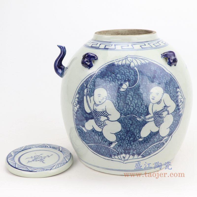 上图:仿古手绘青花开光童子戏莲带壶嘴陶瓷带盖坛罐子  购买请点击图片