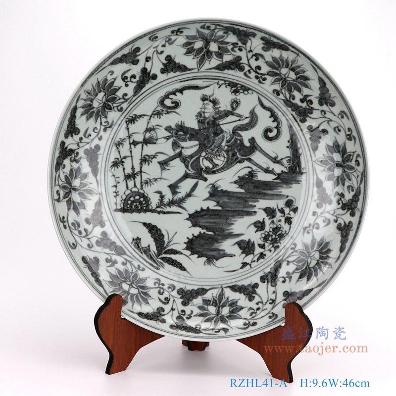 上图:仿古手绘元青花人物战将大圆盘瓷盘 购买请点击图片