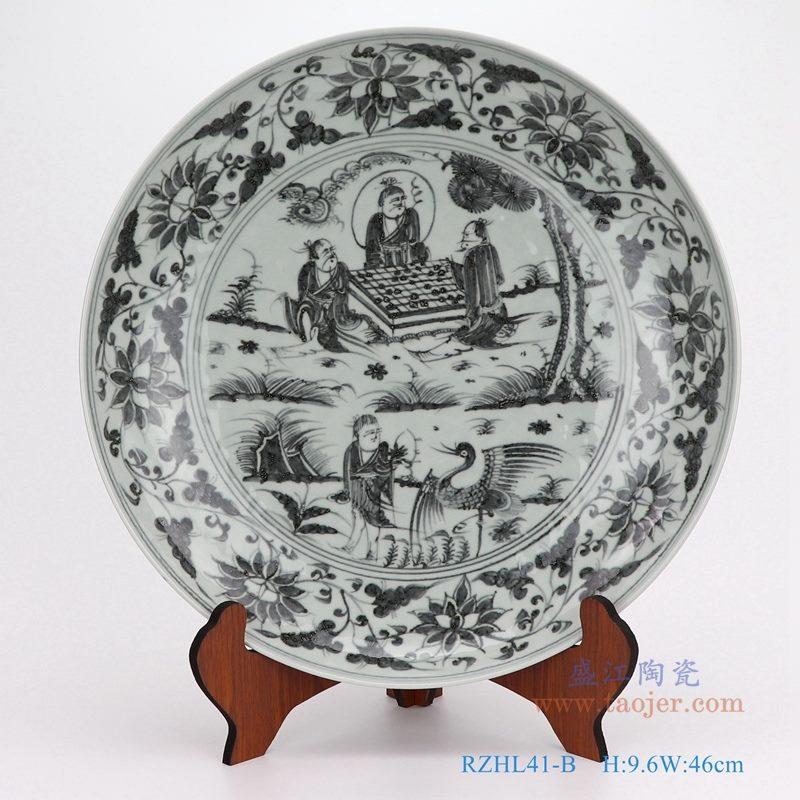 上图:仿古手绘元青花人物棋士大圆盘瓷盘 购买请点击图片