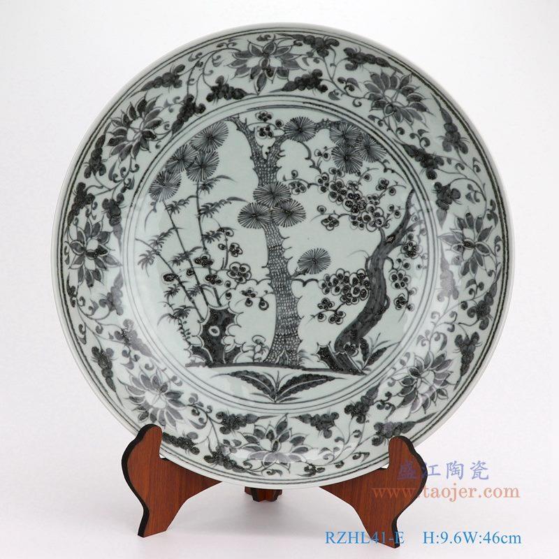 上图:仿古手绘元青花松竹梅大圆盘瓷盘  购买请点击图片