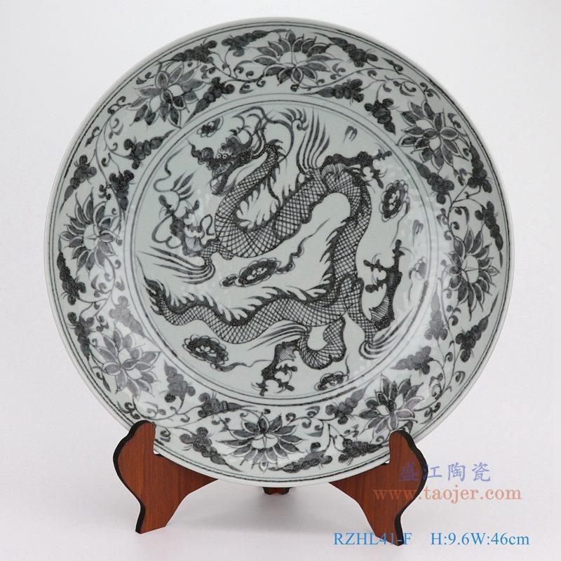 上图:仿古手绘元青花云龙纹大圆盘瓷盘  购买请点击图片